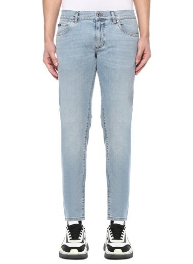 Dolce&Gabbana Dolce&Gabbana  Normal Bel Dar Paça Jean Pantolon 101620111 Mavi